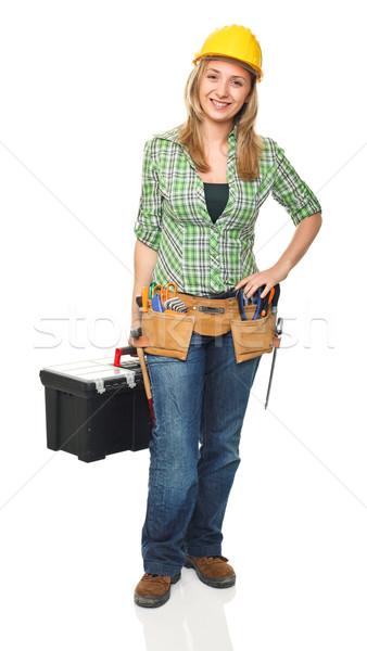 Positief werknemer portret vrouwelijke toolbox Stockfoto © tiero