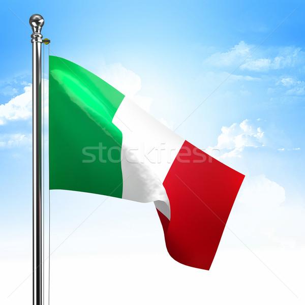 Drapeau italien 3D ciel bleu acier concept Photo stock © tiero