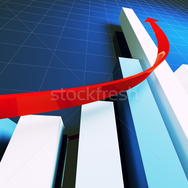 financial stat and red arrow Stock photo © tiero