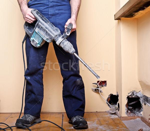 Trabajador detalle manual herramienta hombre construcción Foto stock © tiero