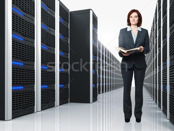 virtual server 3d and woman Stock photo © tiero