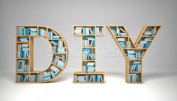 3D görüntü ahşap kitaplar çalışmak Stok fotoğraf © tiero