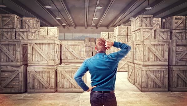 man in warehouse Stock photo © tiero