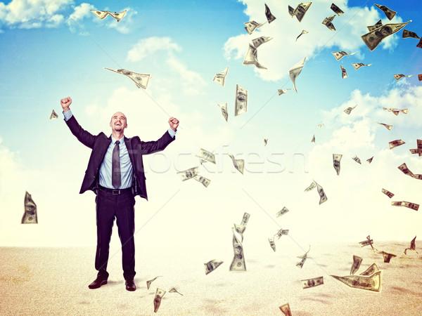 Foto stock: Dinero · me · feliz · hombre · dólar · lluvia