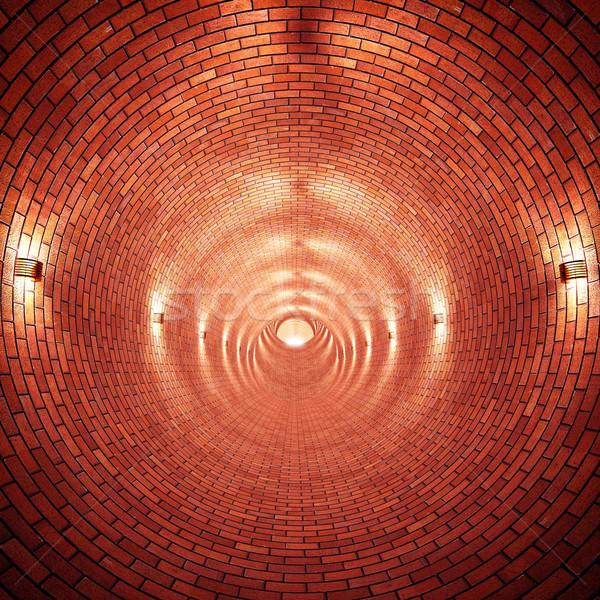 Brique tunnel 3D image construction fond Photo stock © tiero