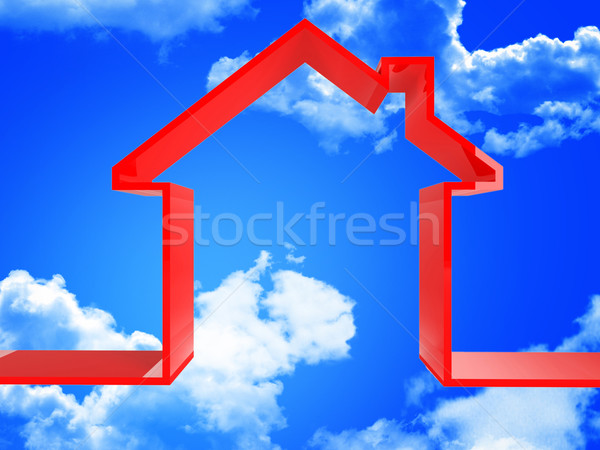 red house in the sky Stock photo © tiero