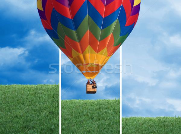Hőlégballon színes üzlet tavasz nap zöld Stock fotó © tiero