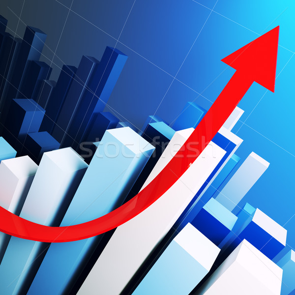 growing stat and red arrow Stock photo © tiero