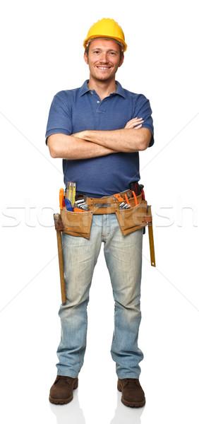 Handyman retrato brasão isolado branco trabalhar Foto stock © tiero
