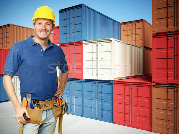 worker and  container background Stock photo © tiero