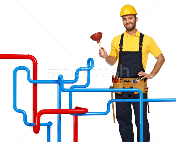 plumber and pipe background Stock photo © tiero
