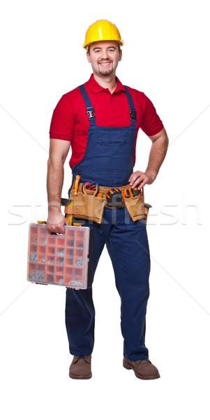 Glimlachend werknemer geïsoleerd witte Stockfoto © tiero