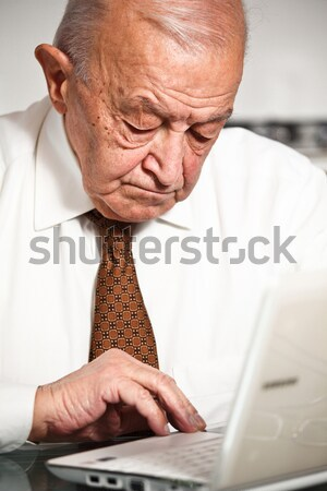 friendly senior use pc Stock photo © tiero