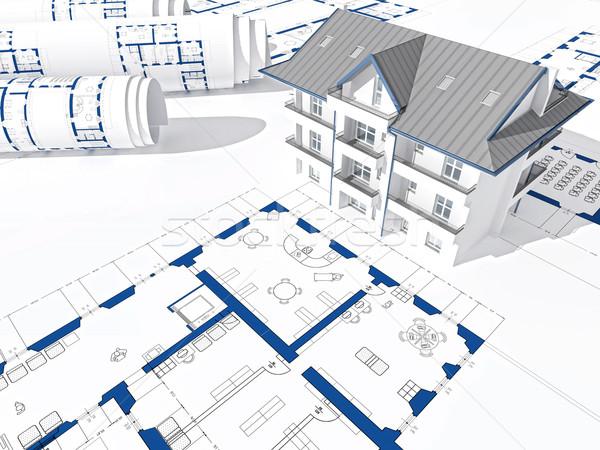 3D дома синий печать здании строительство Сток-фото © tiero