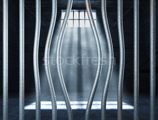 Carcere 3D metal bar abstract finestra Foto d'archivio © tiero