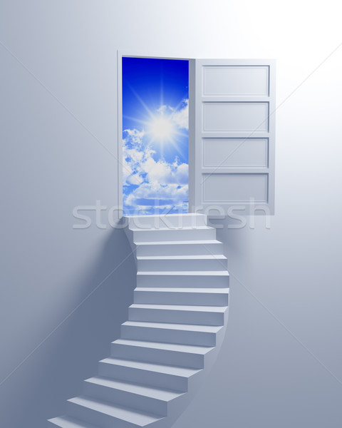 Treppe Freiheit Illustration 3D Business Himmel Stock foto © tiero