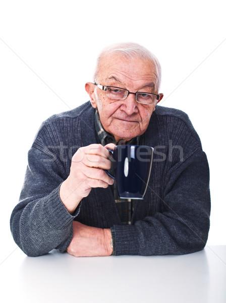 старший портрет очки кружка изолированный Сток-фото © tiero