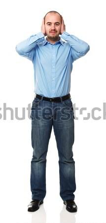 глухой человека Постоянный молодым человеком рук ушки Сток-фото © tiero