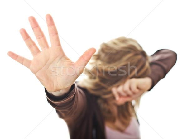 Arrêter violence femme isolé blanche Photo stock © tiero