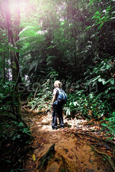 Vrouw borneo jungle kaukasisch Maleisië natuur Stockfoto © tiero