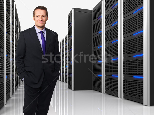 Virtueel server 3d man 3D afbeelding Stockfoto © tiero