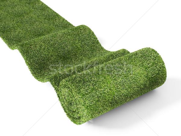 Zöld szőnyeg fehér háttér tavasz absztrakt Stock fotó © tiero