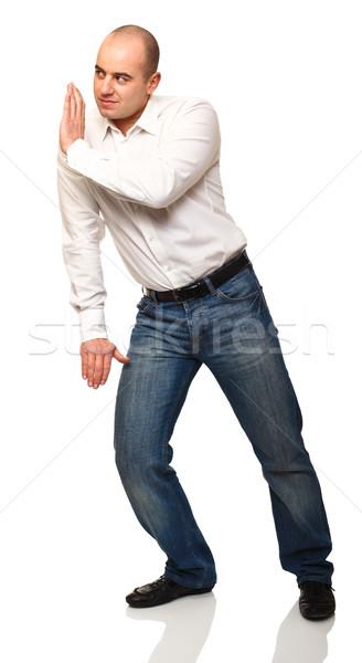 Adam poz pozisyon yalıtılmış beyaz Stok fotoğraf © tiero