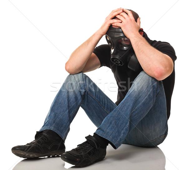 Triste homme masque à gaz isolé blanche masque Photo stock © tiero