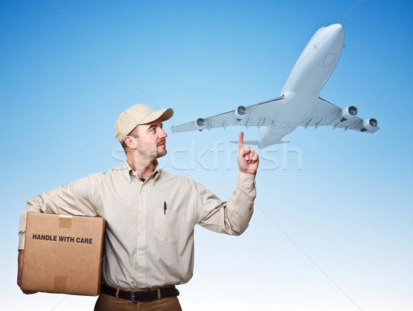 Ar entrega caucasiano avião homem Foto stock © tiero