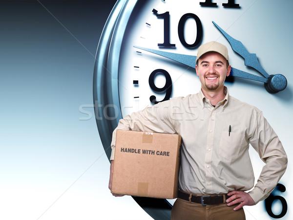 Házhozszállítás idő mosolyog futár 3D óra Stock fotó © tiero