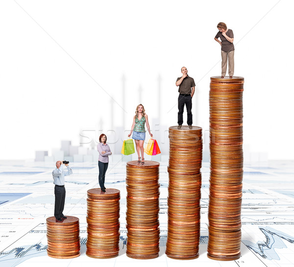 euro piles and people Stock photo © tiero