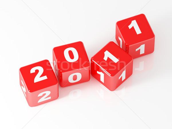 3D czerwony kości 2011 nowy rok dzień Zdjęcia stock © tiero