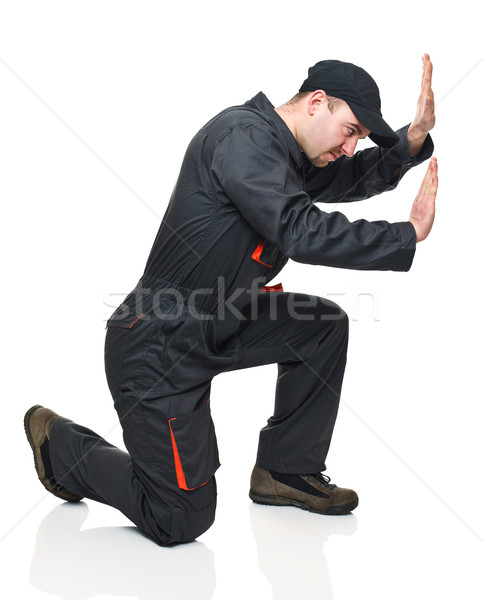 Manual trabalhador posição caucasiano isolado Foto stock © tiero