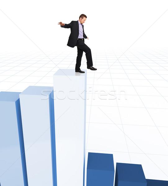Pénzügyi akrobata férfi egyensúly diagram 3D Stock fotó © tiero