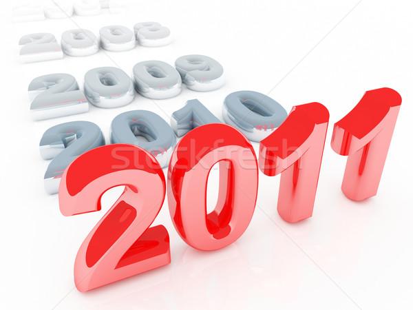 Czerwony 2011 nowy rok 3D starych szary Zdjęcia stock © tiero