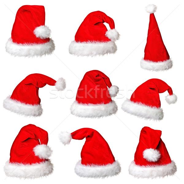 Дед Мороз Hat коллекция изолированный белый вечеринка Сток-фото © tiero