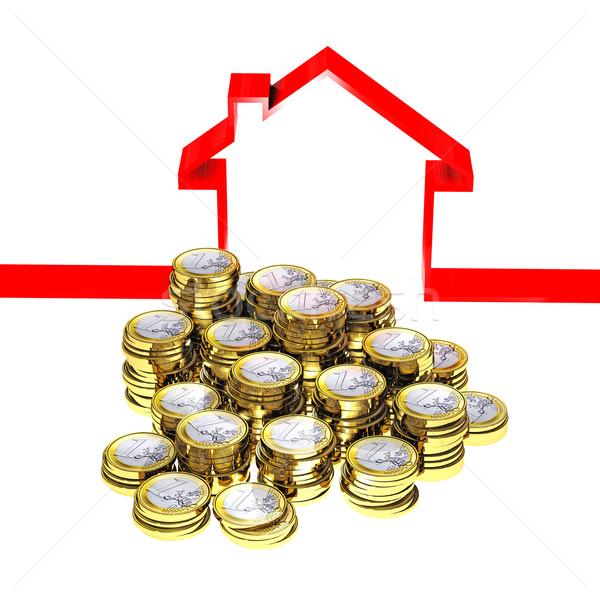 house ribbon and euro money Stock photo © tiero