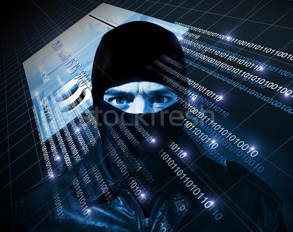 ハッカー 黒 コンピュータ 背景 マスク ソリューション ストックフォト © tiero
