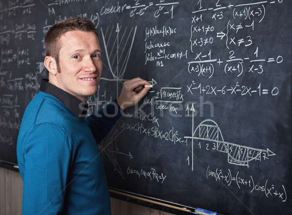 учитель школы портрет кавказский доске студент Сток-фото © tiero