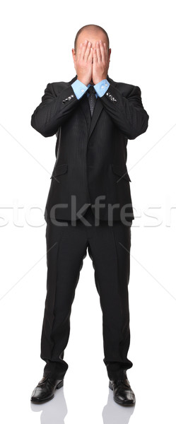 Man dekken gezicht zakenman handen hand Stockfoto © tiero