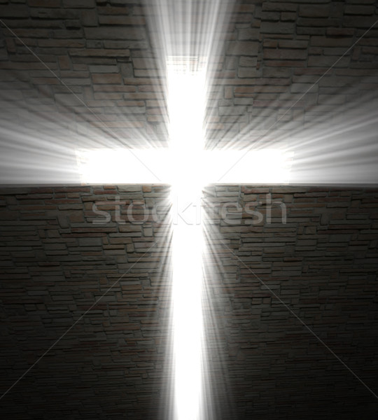 Christian cross of light Stock photo © tiero
