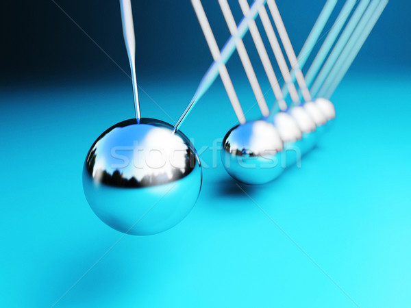 Stock photo: newton cradle 3d