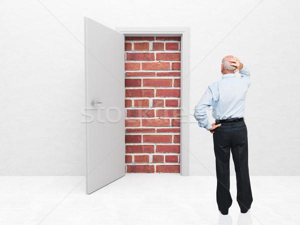 Não escapar em pé velho porta parede de tijolos Foto stock © tiero