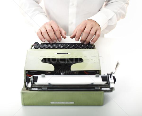 detail of man with typewriter Stock photo © tiero