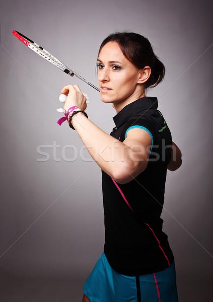 Badminton portret kobieta grać strony Zdjęcia stock © tiero
