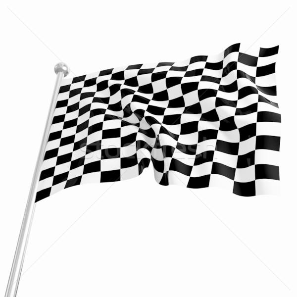 Başlatmak bayrak 3D görüntü klasik beyaz Stok fotoğraf © tiero