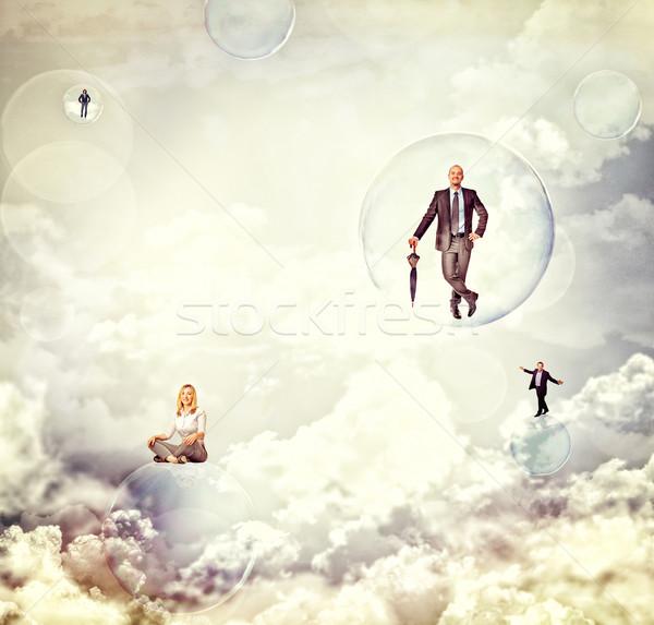 Emberek égbolt üzletemberek légy szappanbuborék nő Stock fotó © tiero
