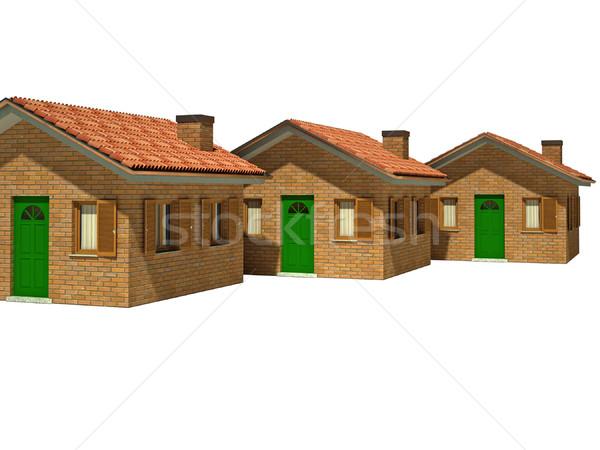 Stock fotó: Izolált · házak · 3D · kép · ház · fehér