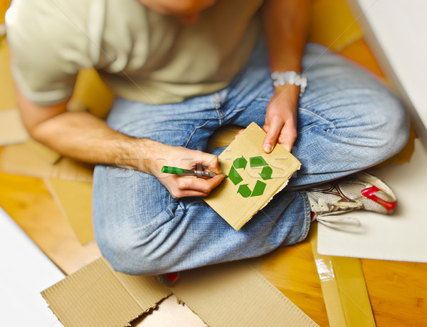 Stock photo: man and recycling paper