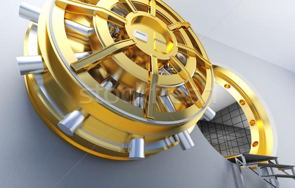 Bank agykoponya arany ajtó pénz biztonság Stock fotó © tiero